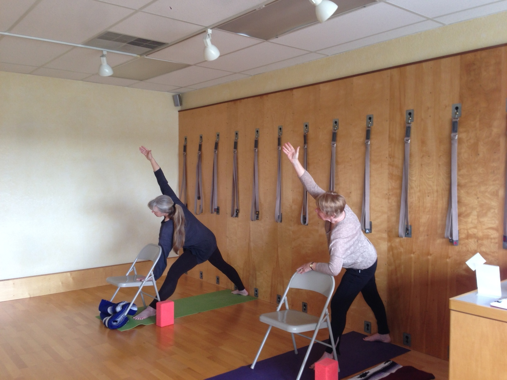 Susan and Jill demonstrate Utthita Trikonasana (triangle pose) with skill.